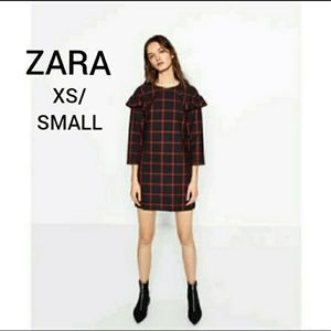 Zara check mid dress / flounce sleeve